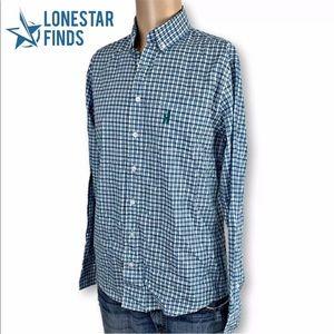 Johnnie-O Blue Plaid Button Front Dress Shirt Sz S